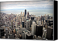 Chicago Canvas Prints - Aerial View Of Chicago Downtown Canvas Print by Luiz Felipe Castro
