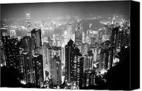 Hong Kong Photo Canvas Prints - Aerial View Of Hong Kong Island At Night From The Peak Hksar China Canvas Print by Joe Fox