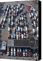 Industrial Ship Canvas Prints - Aerial View of Semi Trucks At Port Canvas Print by Don Mason
