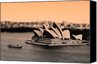 Sydney Photographs Canvas Prints - Aerial view of Sydney Opera House Canvas Print by Harry Neelam