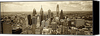 Philadelphia Canvas Prints - Aerial View Philadelphia Skyline Wth City Hall Canvas Print by Jack Paolini