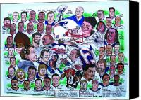 Football Drawings Canvas Prints - AFC Champions N.E. Patriots newspaper poster Canvas Print by Dave Olsen