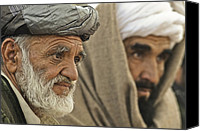 Insurgency Canvas Prints - Afghan Elders Listen To U.s. Soldiers Canvas Print by Everett