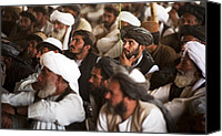 Insurgency Canvas Prints - Afghan Farmers At A Shura Lead By Nawa Canvas Print by Everett