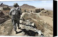 Foot Patrol Canvas Prints - Afghan National Army And U.s. Soldiers Canvas Print by Stocktrek Images