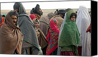 Civilians Canvas Prints - Afghani Refugees In Sakhi Camp Canvas Print by Everett