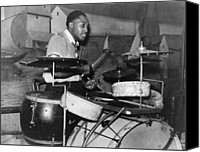 Drum Set Canvas Prints - African American Drummer In Orchestra Canvas Print by Everett