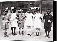 African Americans Photo Canvas Prints - African American First Graders Learn Canvas Print by Everett