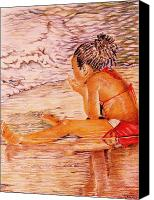 Contemplative Drawings Canvas Prints - African American Girl on the Beach Canvas Print by Candace  Hardy