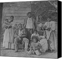 African Americans Canvas Prints - African American Slave Family Canvas Print by Everett