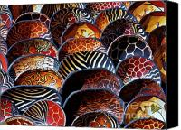 Wooden Bowls Canvas Prints - African art  wooden bowls Canvas Print by Werner Lehmann