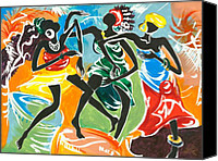 Contemporary Dance Painting Canvas Prints - African Dancers No. 3 Canvas Print by Elisabeta Hermann