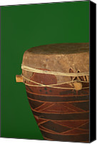 Drum Canvas Prints - African Drum On Green Backgound Canvas Print by Philip Haynes