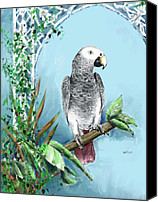 Parrots Canvas Prints - African Grey Parrot Canvas Print by Arline Wagner