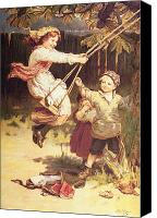 Signed Painting Canvas Prints - After School Canvas Print by Frederick Morgan