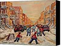 Hockey In Montreal Painting Canvas Prints - After School Hockey Game Canvas Print by Carole Spandau