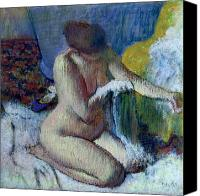 Female Nude Canvas Prints - After the Bath Canvas Print by Edgar Degas