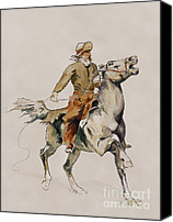 Remington Canvas Prints - After The Cowboy by Frederic Remington Canvas Print by Kate Black