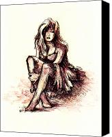 Female Figure Drawings Canvas Prints - After the party Canvas Print by Rachel Christine Nowicki
