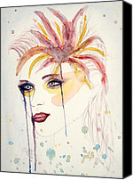 Singer Painting Canvas Prints - After the Show watercolor on paper Canvas Print by Georgeta  Blanaru