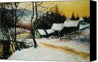 Christmas Cards Painting Canvas Prints - After the snow Canvas Print by Andrew Read