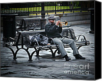 Park Benches Photo Canvas Prints - Afternoon Music Canvas Print by Perry Webster