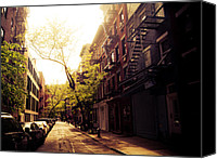 Nyc Fire Escapes Canvas Prints - Afternoon Sunlight on a New York City Street Canvas Print by Vivienne Gucwa