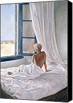 Female Nude Canvas Prints - Afternoon View Canvas Print by John Worthington