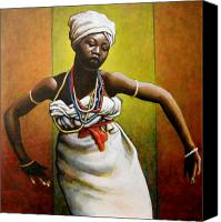 Dancer Painting Canvas Prints - Agbadza Dancer Canvas Print by Carla Nickerson