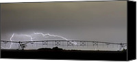 Storm Prints Canvas Prints - Agricultural Irrigation Lightning Bolts Canvas Print by James Bo Insogna