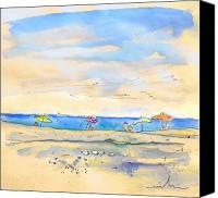 Almeria Travel Sketch Drawings Canvas Prints - Agua Amarga 01 Canvas Print by Miki De Goodaboom