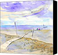 Almeria Travel Sketch Drawings Canvas Prints - Agua Amarga 03 Canvas Print by Miki De Goodaboom