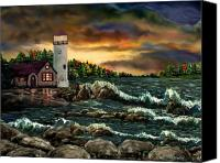 Scenic Pastels Canvas Prints - AH-001-015 Davids Point Lighthouse  - Ave Hurley Canvas Print by Ave Hurley