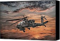 Apache Canvas Prints - AH-64 Apache Attack Helicopter Canvas Print by Randy Steele