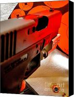Remington Canvas Prints - Aimed Glock Canvas Print by Rene Triay