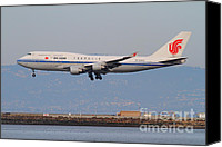 Airways Canvas Prints - Air China Airlines Jet Airplane At San Francisco International Airport SFO . 7D12273 Canvas Print by Wingsdomain Art and Photography