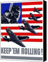 World War I Digital Art Canvas Prints - Air Force Keep Em Rolling Canvas Print by War Is Hell Store