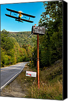 Airplane Canvas Prints - Air Mail Delivery Maine Style Canvas Print by Bob Orsillo