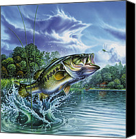Freshwater Canvas Prints - Airborne Bass Canvas Print by JQ Licensing