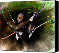 Airbrush Art Digital Art Canvas Prints - Airbrush Ninja Canvas Print by Sal  Scarduzio
