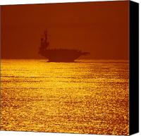 Warship Canvas Prints - Aircraft Carrier At Sunset Canvas Print by Stocktrek Images