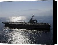 Warship Canvas Prints - Aircraft Carrier Uss Carl Vinson Awaits Canvas Print by Stocktrek Images