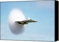 Sonic Canvas Prints - Aircraft Sonic Boom Cloud Canvas Print by Us Department Of Defense