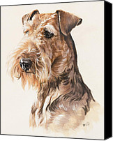 Pets Canvas Prints - Airedale Canvas Print by Barbara Keith