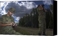 Rangefinder Canvas Prints - Airmen Use A Range Finder And Gps Unit Canvas Print by Stocktrek Images