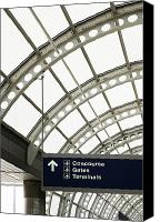 Airport Concourse Canvas Prints - Airport Information Sign Canvas Print by Ben Sandall