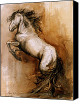 Horse Painting Canvas Prints - Airs Above Canvas Print by Mary Leslie