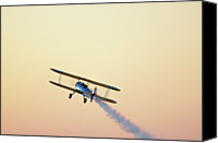 Gulf Coast States Canvas Prints - Airshow Smoke Trail At Sunset Canvas Print by Jim McKinley