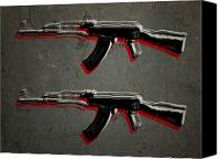 Gun Canvas Prints - AK47 Assault Rifle Pop Art Canvas Print by Michael Tompsett