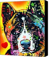 Acrylic Canvas Prints - Akita 2 Canvas Print by Dean Russo